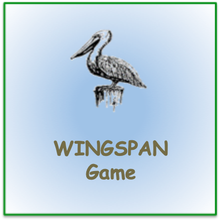 """Stencil pelican image with words """"Wingspan game"""""""