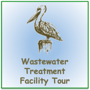 "Stencil pelican image with words ""Wastewater Treatment Facility Tour"""